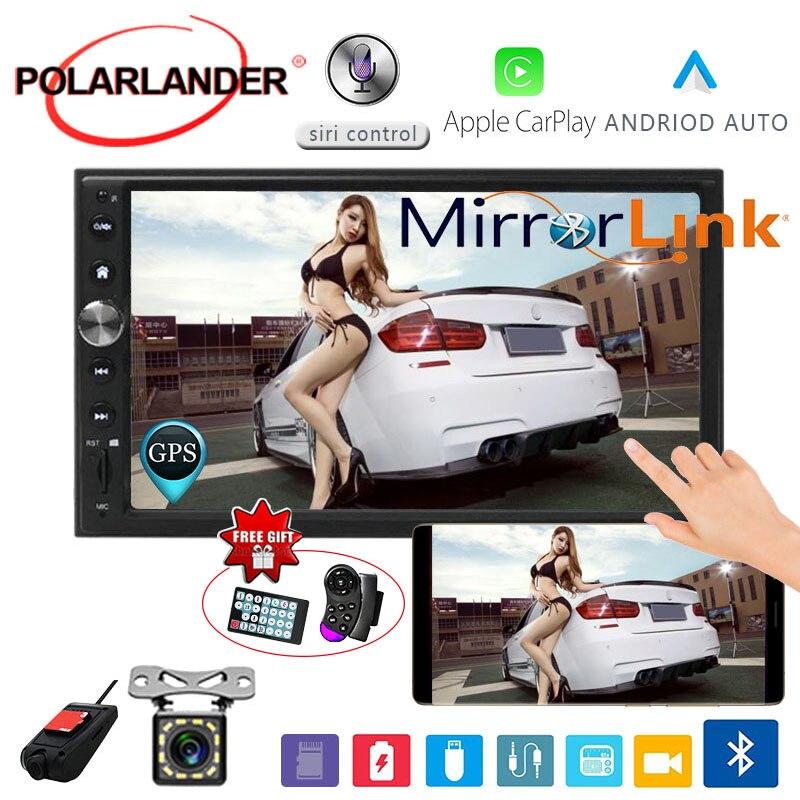 """7 """"2 DIN Car Radio trasero Cámara DVR Autoradio GPS Navi enlace espejo Multimedia para Apple Carplay y Android MP5 Bluetooth de audio de coche"""