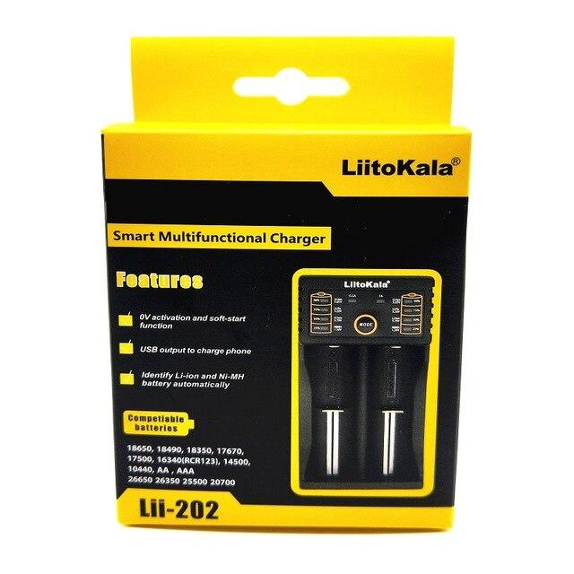 Liitokala Lii-202 carregador para 1.2 V/3 V/3.7 V/4.25 V 18650/26650/18350 /16340/18500/AA/AAA Ni MH bateria