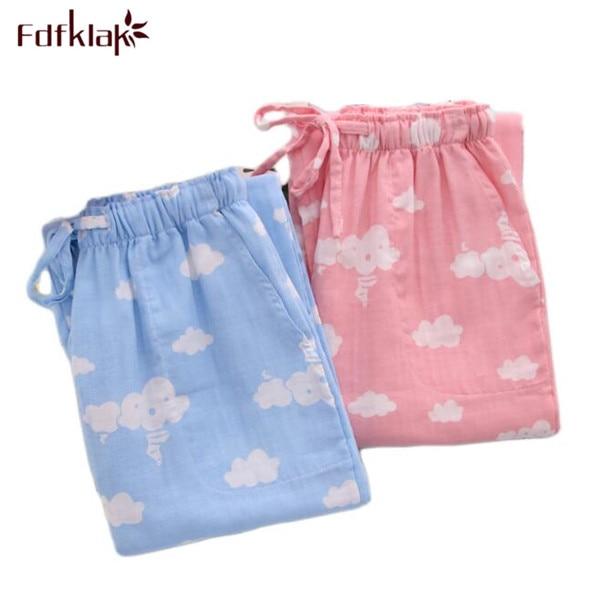 Pantalones de Pijama para primavera y verano, pantalones de casa para mujer, pantalones de invierno para el hogar de algodón rayado, pantalones largos de salón para mujer, M-XL E1159