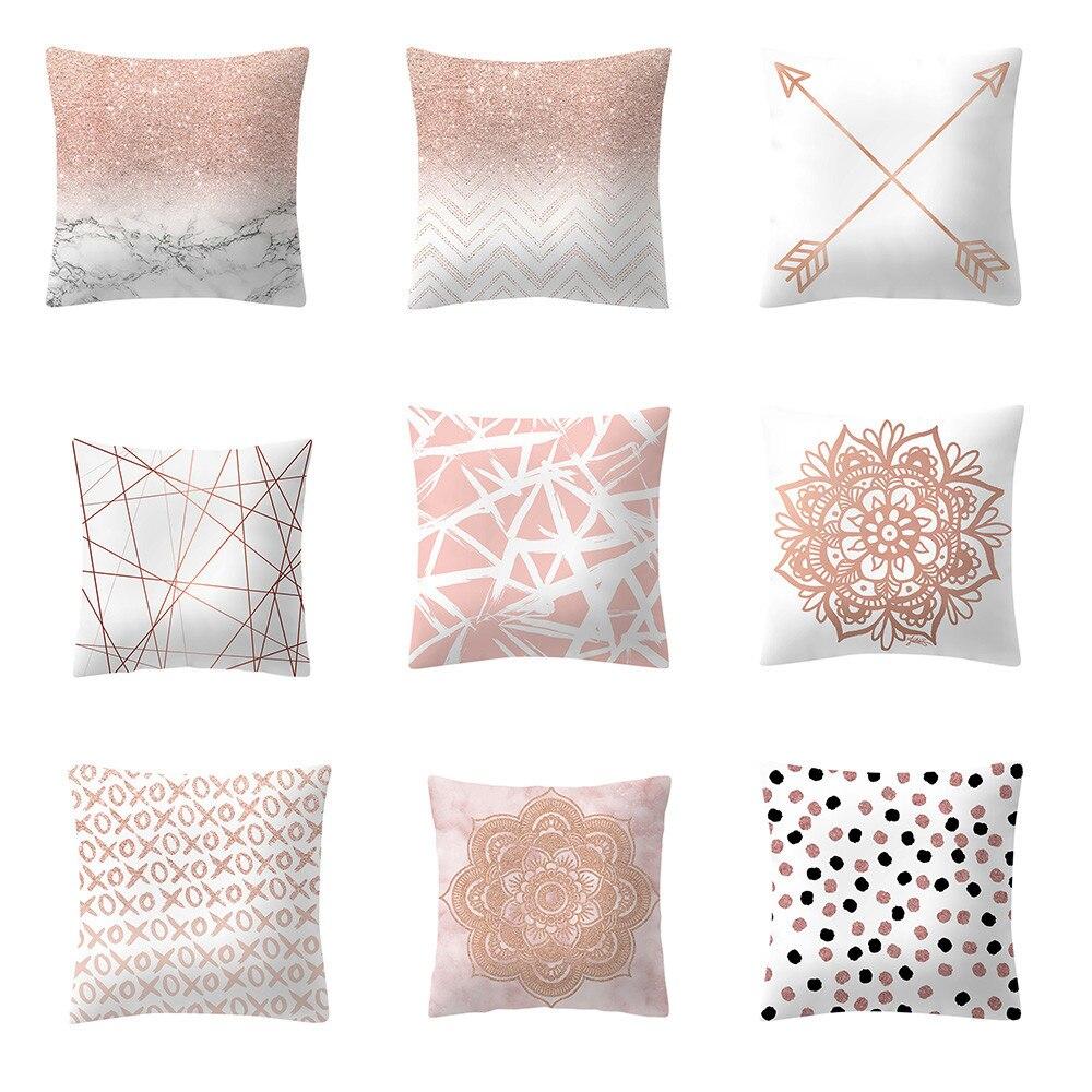 Gran oferta Dakimakura impreso Rosa oro rosa oro cuadrado geométrico funda de almohada caliente dulce sofá silla decoración cojines para silla