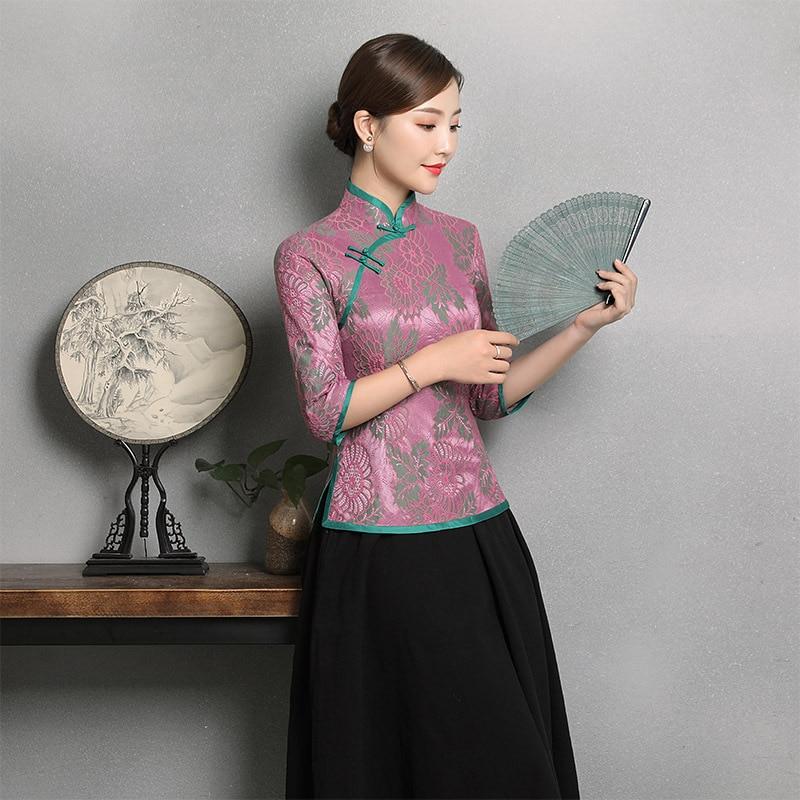 Camisa de fiesta de flores sexi para mujer, Elegante ropa de encaje Rosa china, blusa femenina para espectáculo de escenario, prenda de boda tradicional, Top Tang