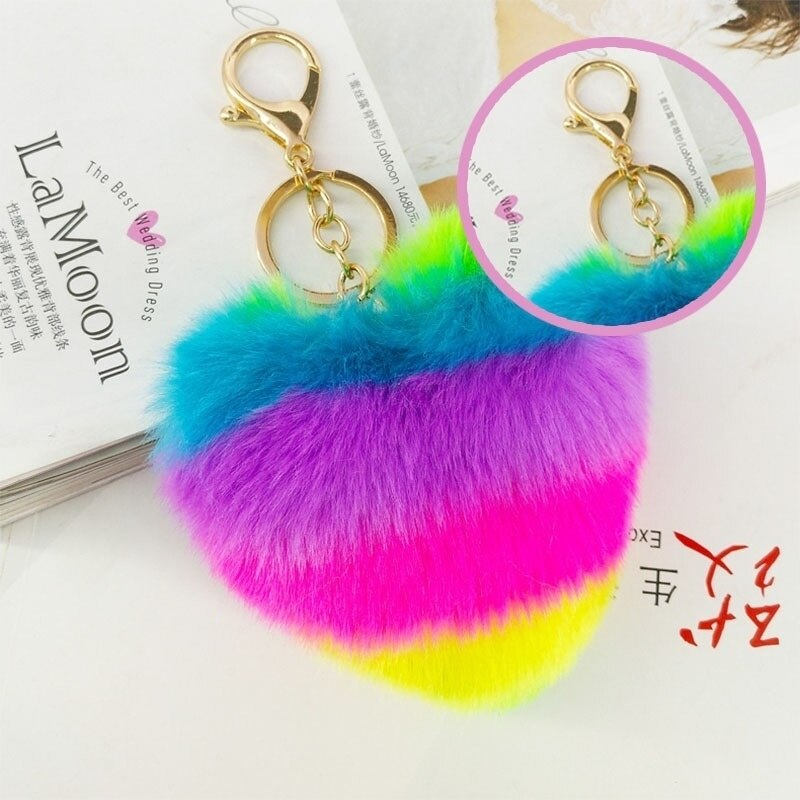LLavero de piel de corazón multicolor de 15x10cm, pompón de pelo de conejo mullido de imitación, llavero con anilla para llaves, colgante de bolso de coche para mujer, regalos de moda