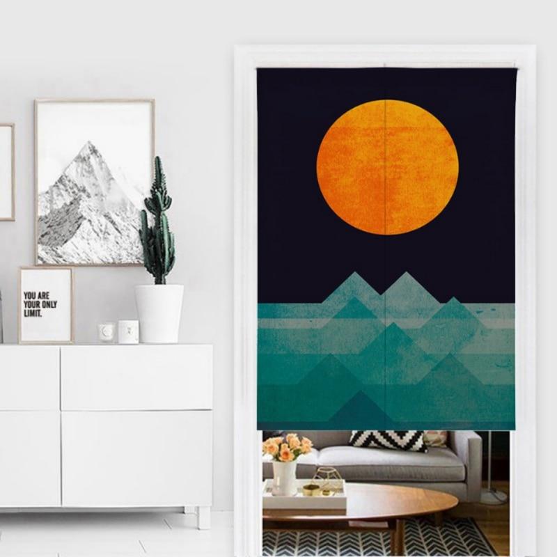 Spezielle Sonne Design Muster Japanischen Stil Noren Doorway Vorhang Baumwolle Und Leinen Gedruckt Hängende Tapestry Für Home Dekoration