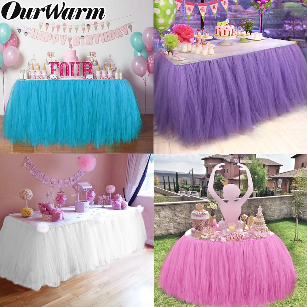 OurWarm, falda de tul con tutú para mesa, ropa de mesa de tul para fiesta de Baby Shower, decoración de boda, rodapié de mesa para fiesta en casa, textil decorativo
