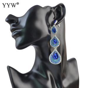 Длинные серьги в виде хрустальной люстры прозрачного/синего/зеленого цвета для женщин, свадебные украшения для невесты, серьги-подвески, аксессуары