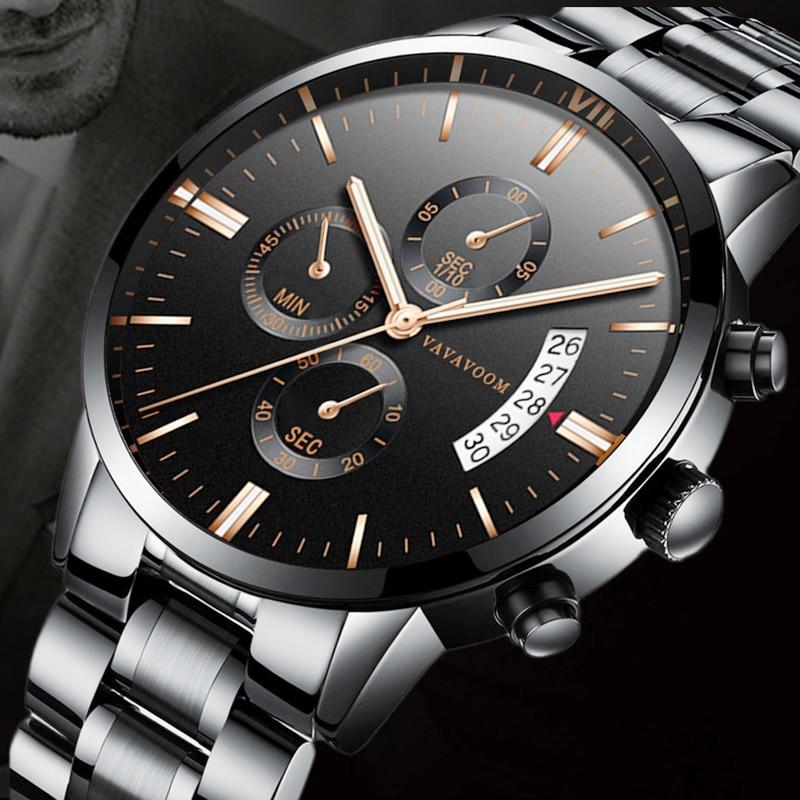 Роскошные Лидирующий бренд, мужские часы, водонепроницаемые часы из нержавеющей стали, кварцевые часы, мужские часы с календарем, противопо...