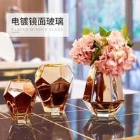 nordic golden glass vase wide mouth flower arrangement living room table home decorations