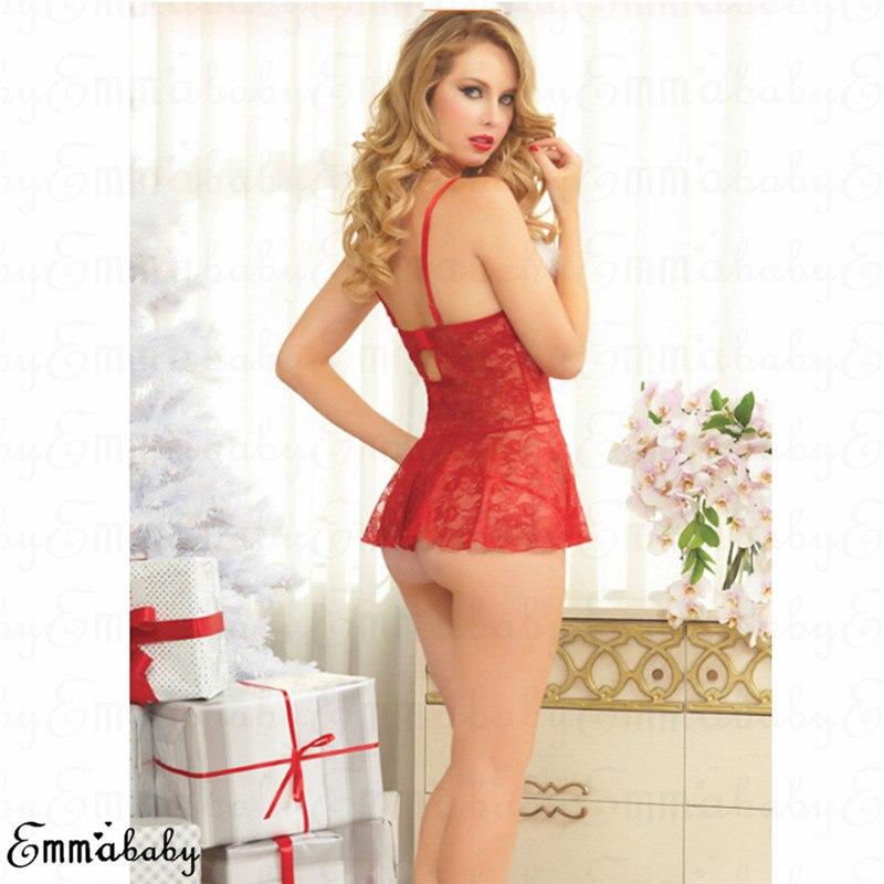 Sexynew natal laço vermelho sissy santa lingerie sexy feminino vestido de renda roupa interior babydoll pijamas natal