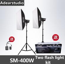 Menik SM-400 Stüdyo Flaş aydınlatma kiti 400 W Flaş Işığı + (2) 240 cm Işık Standları + (1) Flaş Tetik no00dC