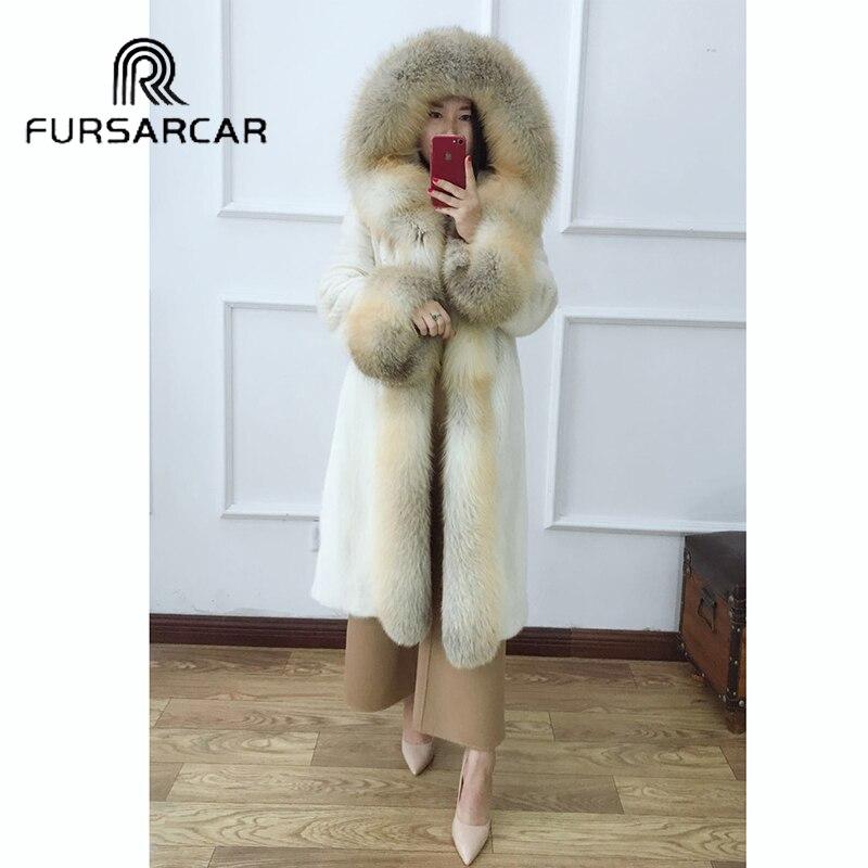Fursarcar 2020 nova moda real vison casaco de pele das mulheres com gola de pele de raposa e manguito de luxo inverno natural genuíno casaco de pele de vison