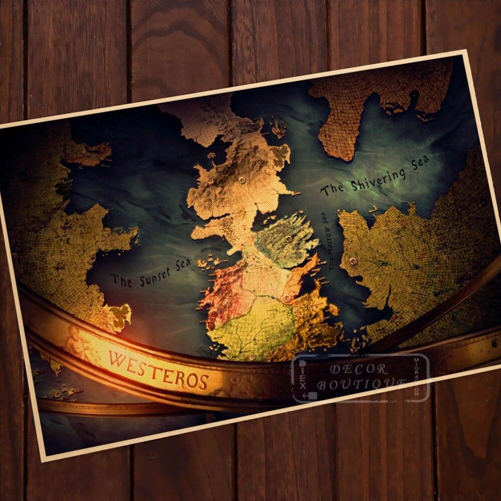 Westerns puesta de sol mar mapa Juego de tronos Vintage clásico Retro lienzo pintura MARCO DE poster DIY pared carteles decoración del hogar regalo