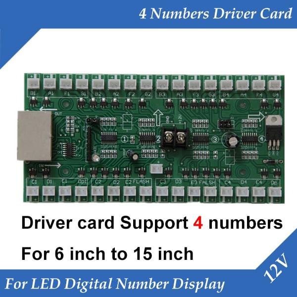 Плата для водителя с 4 номерами, для газа, масла, светодиодный дисплей, для 6-15 дюймов, светодиодный цифровой модуль с номером