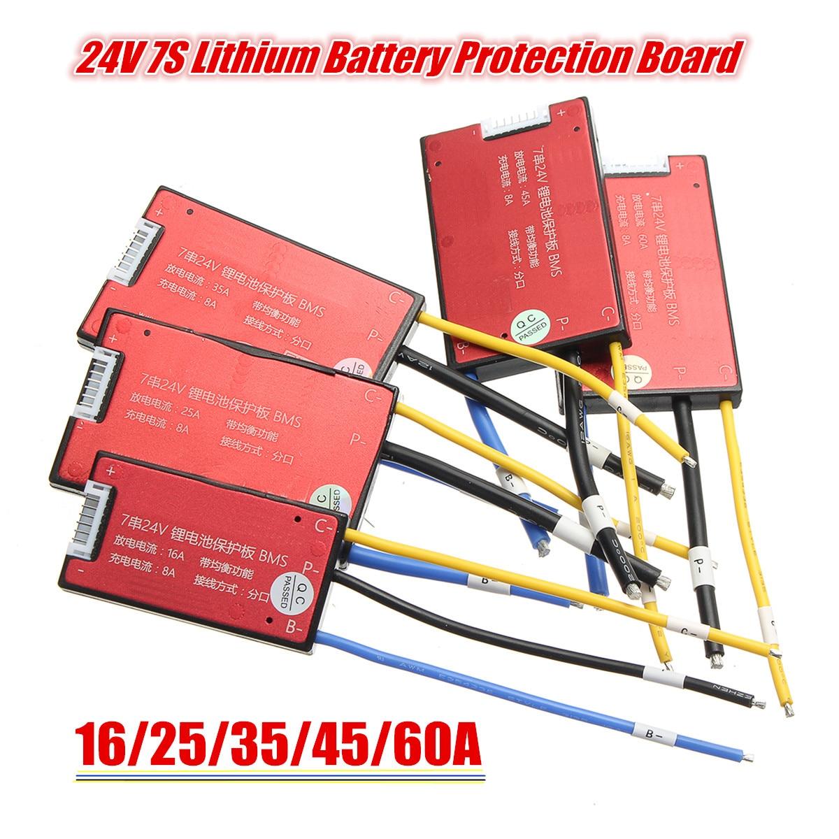 16 V/25A/35A/45A/60A 7S 18650 литий-ионный Литий-полимерный аккумулятор BMS PCB PCM плата защиты батареи для Ebike