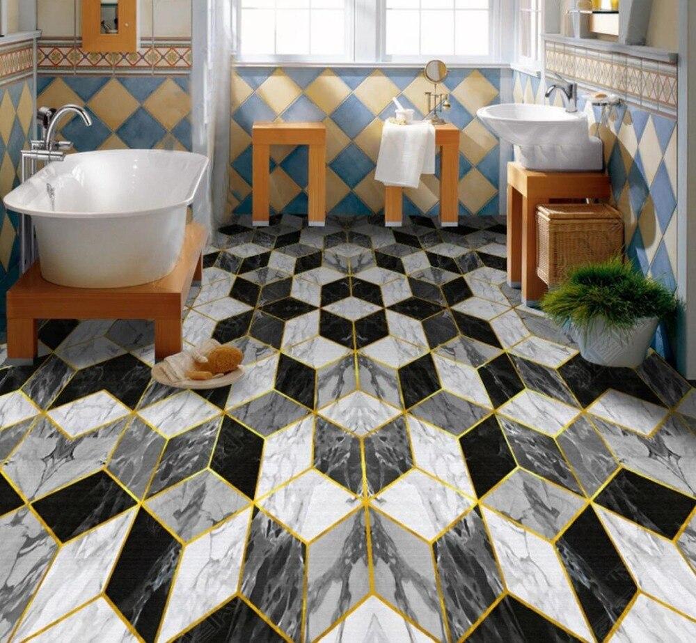 [Autoadhesivo] 3D, negro, blanco, gris, azulejos 5 antideslizantes, foto autoadhesiva, Mural para piso, pegatina, papel tapiz, Impresión de Mural