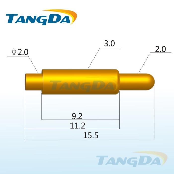 Tangda بوجو دبوس موصل DHL/EMS D3.0 * 15.5 مللي متر 1A الربيع كشتبان البطارية موصل التحقيق الذهب مطلي النحاس كبير الحالي هوائي