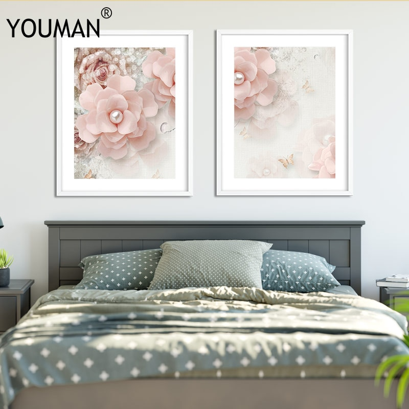 3D Wallpaper Home Decorative Canvas Painting Pink Flowers Nordic Style Kids Decoration Flora for Wall