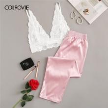 COLROVIE rose Floral dentelle Bralette avec Satin pantalon femmes Sexy pyjamas ensemble 2019 sous-vêtement été chemises de nuit vêtements de nuit féminins