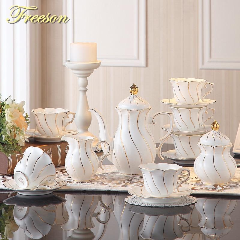 Европейский Золотой чайный набор с инкрустацией костяного фарфора, британский фарфоровый чайный набор, керамический горшок, Сливочная сах...