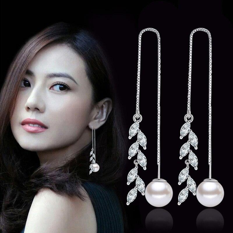 100% 925 perła z polerowanego srebra liść projekt długie kolczyki wiszące dla kobiet biżuteria urodziny prezent hurtownie drop shipping