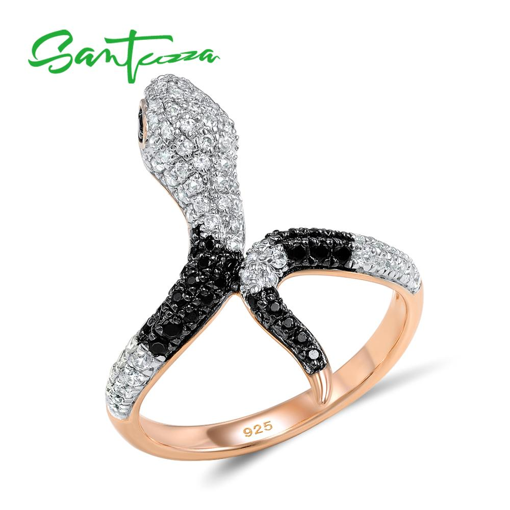 خاتم فضة من SANTUZZA للسيدات عيار 925 مصنوع من الفضة الإسترليني لون ذهبي ووردي على شكل ثعبان أسود مصنوع من الزركونيا الأسود مجوهرات فاخرة للحفلات