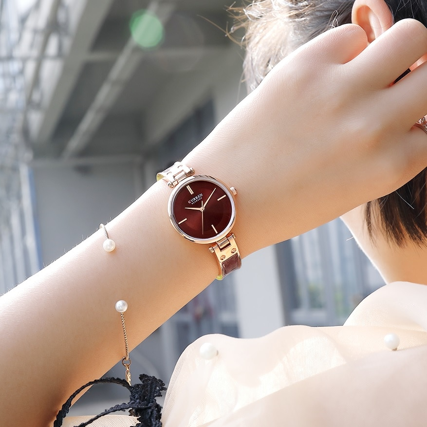 CURREN Women Watches Elegant Brown Golden Ultra-Thin Simple Quartz Wrist Watch Bracelet Reloj Girls Ladys Clock Relogio Feminino enlarge
