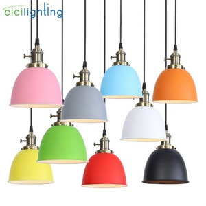 Surface Mount Pendant Lighting, Industrial Barn Pendant Light with Pink Greay Yellow Orangle Red Dome Bowl Shape