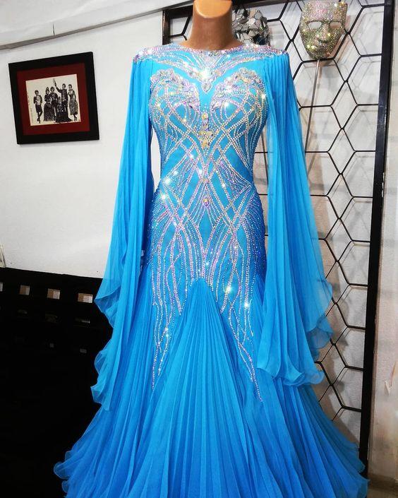 GOODANPAR-فستان رقص عصري ، فستان رقص قياسي ، رقص وتانجو ، مسابقة الفالس ، مثير ، أزرق ، للنساء