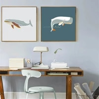 haochu modern animal abstract ocean whale print wall art picture canvas painting square posters for children room home office