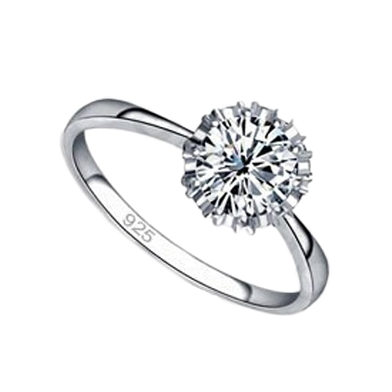 High Quality 925 Sterling Silver Jewelry Classic Simple Engagement Ring For Women 4 Size AAA CZ Wedding Anel Fast Shipping Gift
