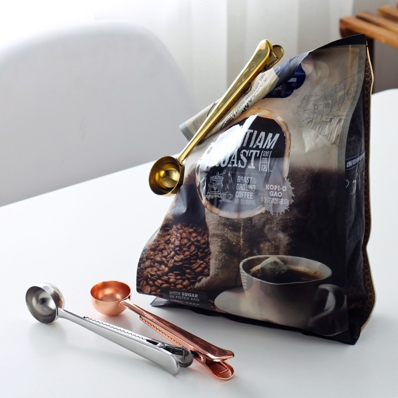 Cuchara de comida de acero inoxidable multifunción eTya, 1 unidad, cucharas de café molido de té de la leche con Clip para bolsa, herramientas de sellado de bebidas en polvo