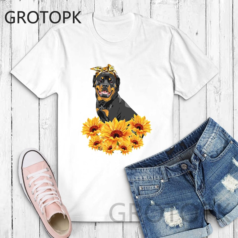 New 2019 Rottweiler T Shirt Tee Shirt Aesthetic Female T-shirt Sunflower Harajuku Kawaii White Tshirt Korean Fashion Clothing