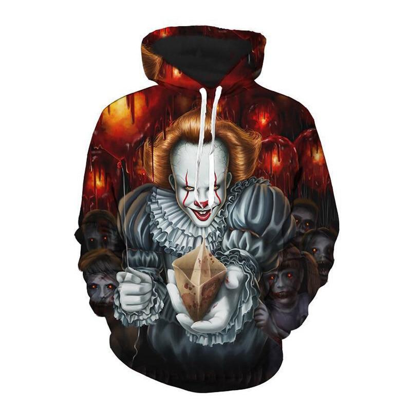 Pennywise 3D payaso sudaderas con capucha del Joker sudadera hombres mujeres divertido Horror Sudadera con capucha bolsillos Hombre Casual ropa deportiva jerseys