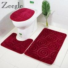 Zeegle-ensemble tapis de bain de salle de bain   Pour la décoration de la maison, tapis de toilettes antidérapants, tapis de flanelle 3D gaufrée, tapis de siège