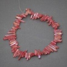 Perle de Quartz en cristal de guérison rouge, pendentif à Point mat percé, collier de bijoux fins pour femmes de mode Rock Stone-Kindgems