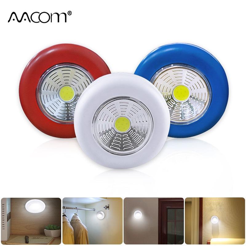 Sensor de movimiento PIR, luces LED de noche inalámbricas, Sensor de empuje con lámpara LED alimentada por batería, lámparas de pared para Stairway Closet Kitchen