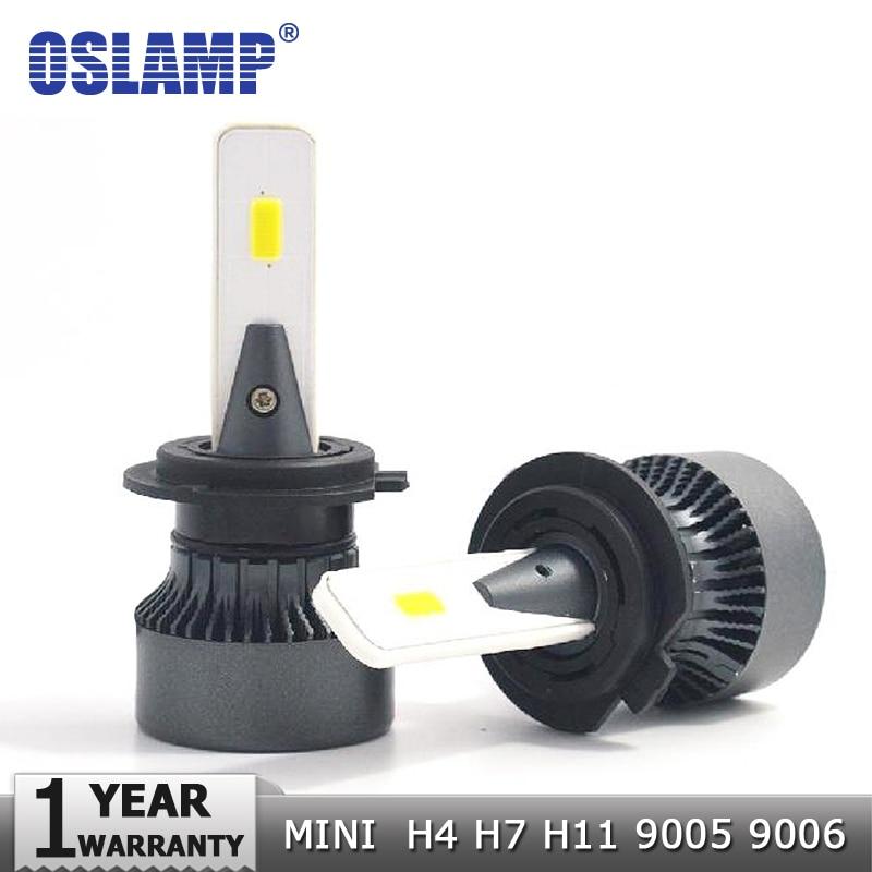 Faro LED para coche oslámpara H4 H7 H11 9005 9006 COB, tamaño Mini 72W 8000LM 6500K, luz Led para coche con ventilador de refrigeración 12V 24V