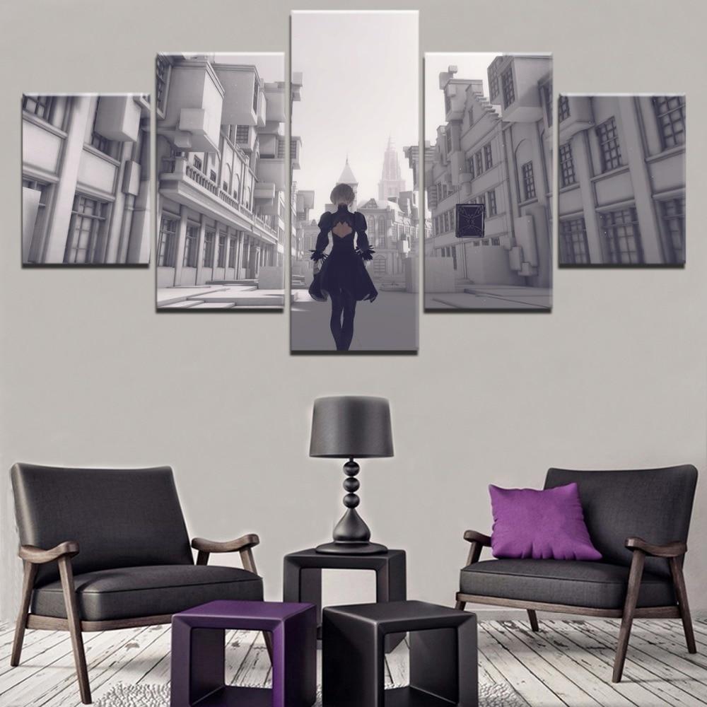 5 piezas, juego NieR Automata Building YoRHa Canvas HD, pintura impresa, arte de pared moderno, imagen enmarcada Modular decorativa