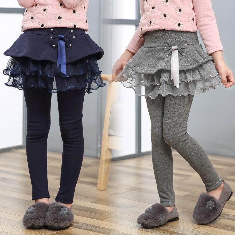 Faldas de malla de bebé-Pantalones leggings Niña con faldas Patchwork chica Bowknot mallas de princesa niños pantalones de baile pastel falda Pantalones