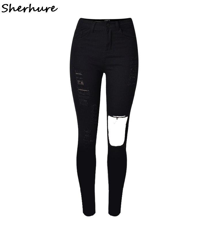 2019 новые модные женские рваные джинсы до колена тонкие черные рваные джинсы с высокой талией рваные узкие брюки женские стрейч брюки