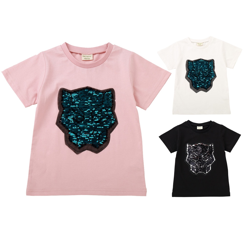 Schwarz Panther Magie Verfärbung Pailletten Kinder T-shirt Junge Mädchen Kurzen Ärmeln Pailletten Reversible T shirt Baby Baumwolle Tops