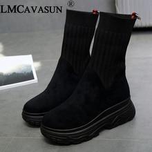 LMCAVASUN frauen Winter Turnschuhe Frauen Socke Stiefel Casual Schuhe Frau Stiefeletten Frauen Plüsch Gummi Plattform Stiefel chunky Sneak