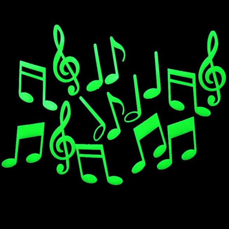 Музыкальные нотки, Детские флуоресцентные светящиеся игрушки, светится в темноте, светящиеся наклейки