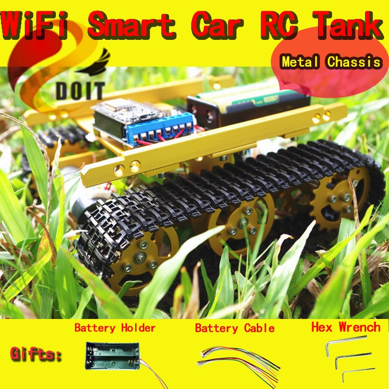 DOIT T100 Sem Fio Wi-fi RC Tanque De Metal Cheia de NodeMCU Development Kit com Motor Escudo L293D Placa DIY RC Toy
