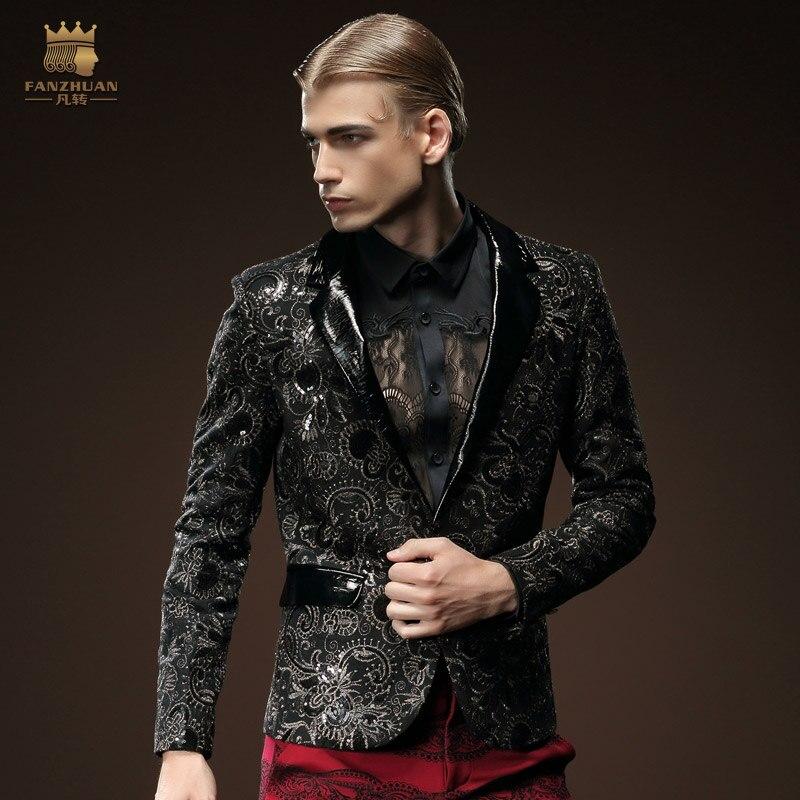 Fanzhuan convencional dos homens Frete Grátis moda masculina 2015 inverno colarinho do terno único breasted blazer casaco de manga comprida 510039