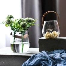 Portable glass vase green plant hydroponic container English alphabet flower vase creative wall vase home decoratio