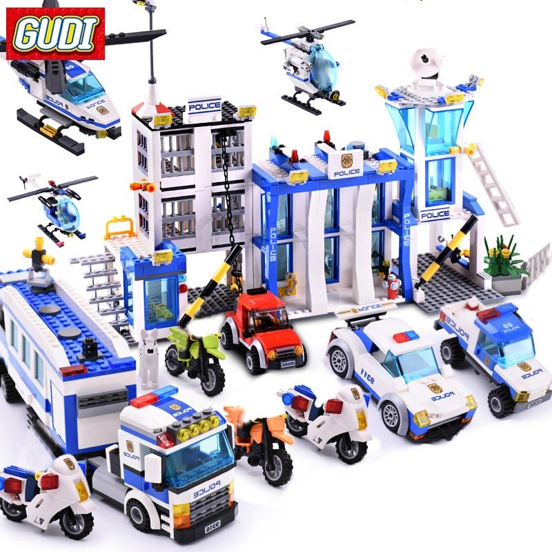 Серия «Городская полиция», строительные блоки, фигурки вертолета, собранные строительные игрушки, блоки «сделай сам», Обучающие Детские иг...