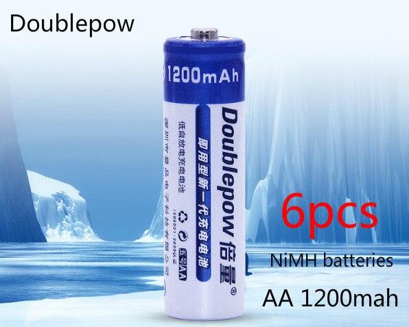 ¿6 uds? Ratón de control remoto con batería recargable de 1200 mah AA NiMH de Doublrpow, batería