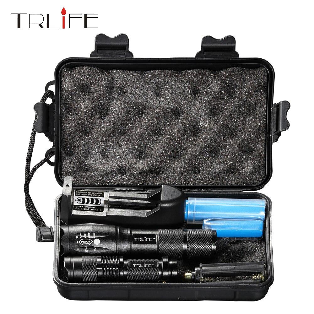 Linterna LED L2/T6 linterna táctica con zoom Mini lámpara recargable Penlight 18650 Batería 2 uds