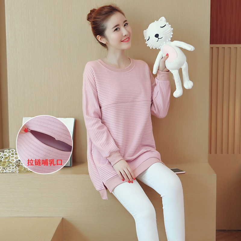 Lactation clothes Pregnant women clothing Feeding out clothes in autumn and winter sweater Blouse Dress thickening hoodie enlarge