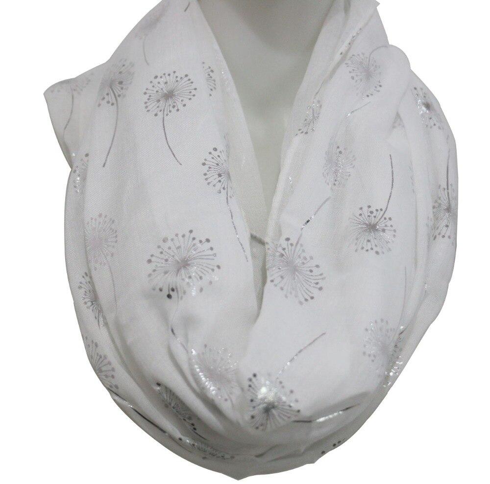 Foxphine-écharpe circulaire Femme Hijab   Nouvelle mode, écharpe, blanc gris brillant, feuille bronzante argentée, pisselion, livraison directe, 2019